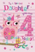 Daughter 4th Birthday Card
